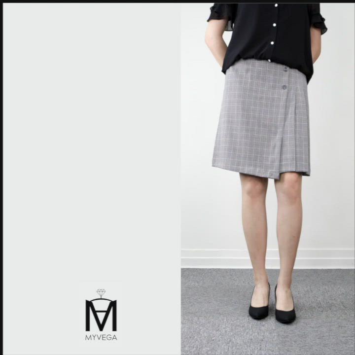 MYVEGA麥雪爾 MA英倫格紋A字短裙-灰 product video thumbnail