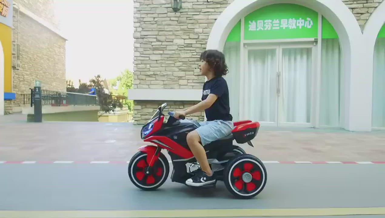 TECHONE MOTO34兒童電動機車三輪車男女寶寶小孩可坐人電動車充電大號玩具童車 product video thumbnail