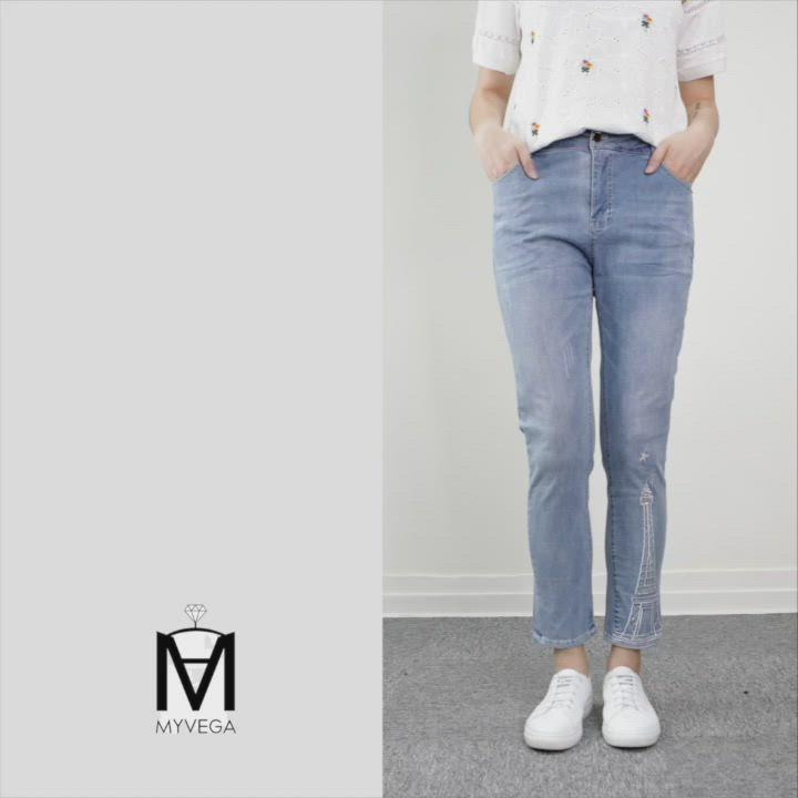 MYVEGA麥雪爾 MA水鑽鐵塔繡花水洗感牛仔褲-藍 product video thumbnail