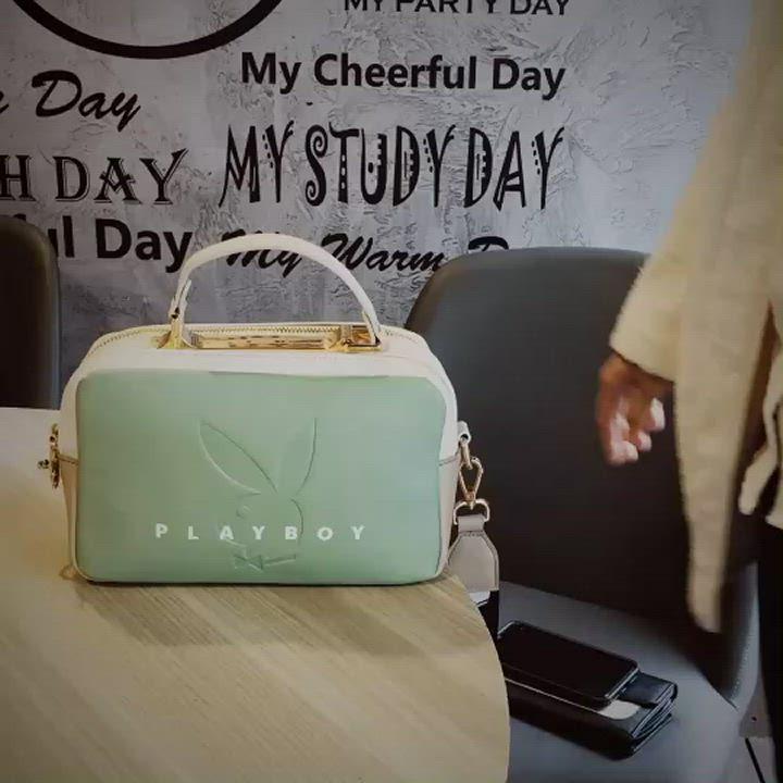 PLAYBOY-  斜背包附長及寬版背帶  玩色繽紛系列 -粉色 product video thumbnail