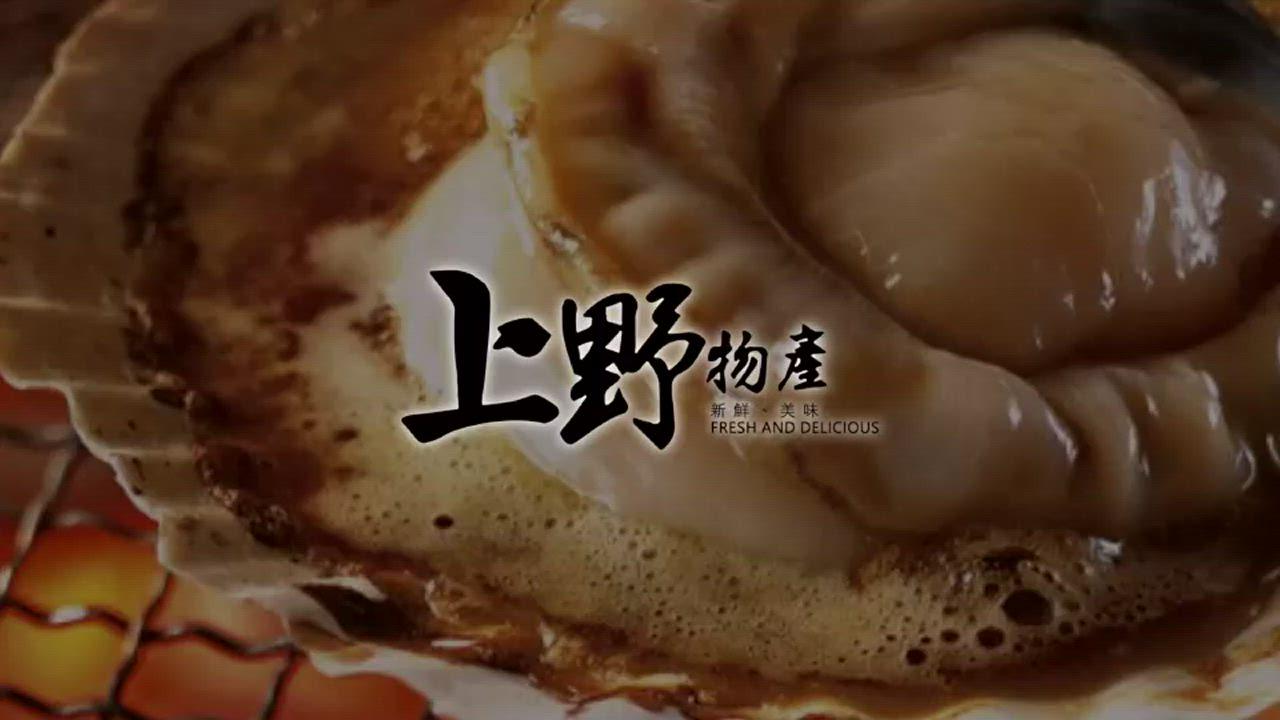 【上野物產】半殼扇貝(500g土10%/7-8個/包) x10包 product video thumbnail