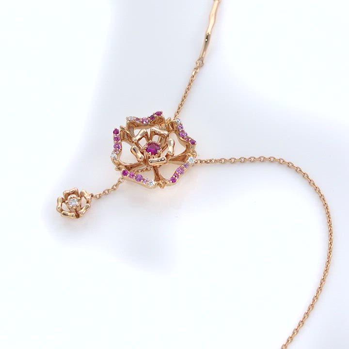 點睛品 V&A 18KR玫瑰金粉紅色藍寶石 玫瑰鑽石項鍊 product video thumbnail