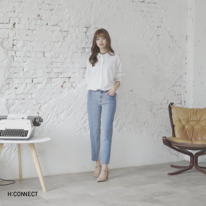 H:CONNECT 韓國品牌 女裝-立體縫線不收邊牛仔褲 product video thumbnail