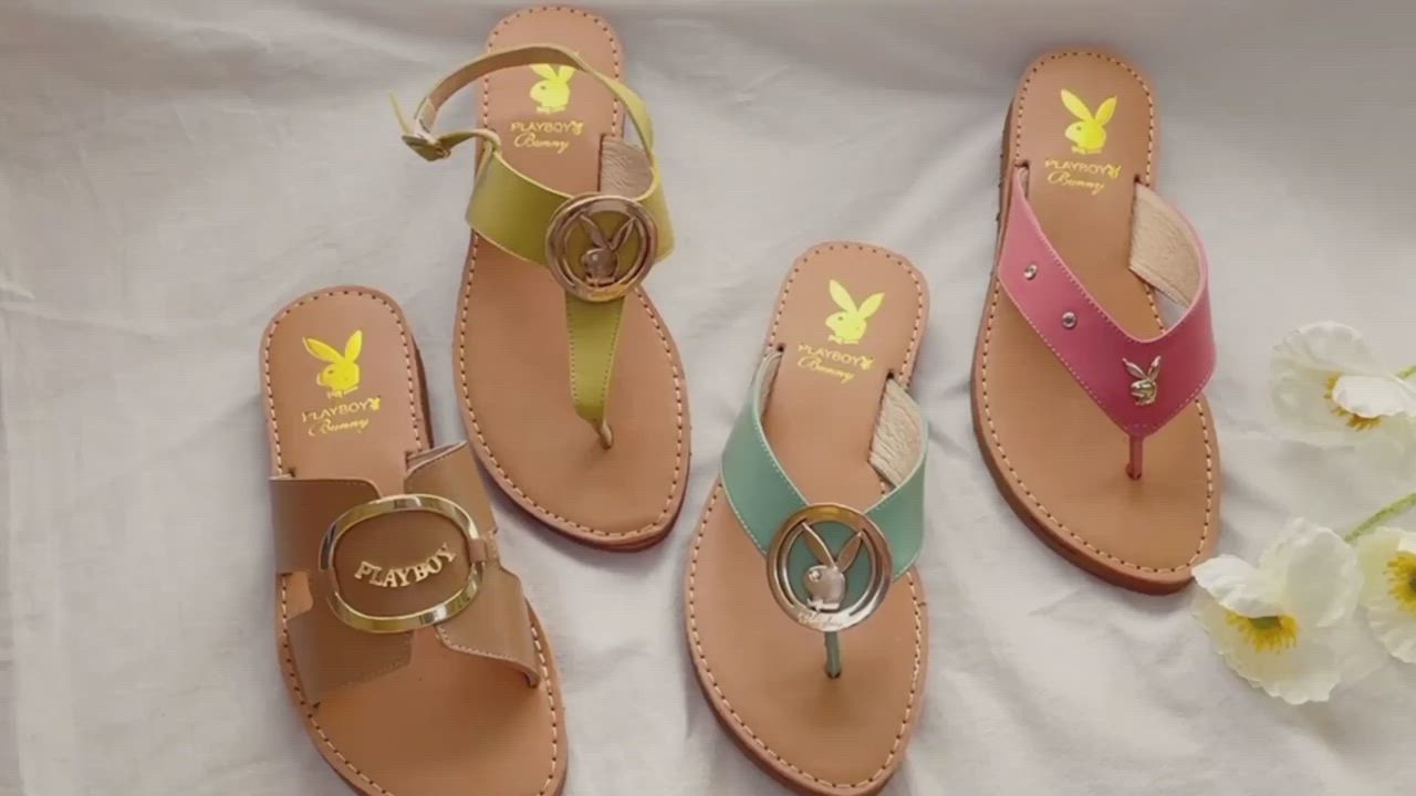 PLAYBOY 柔軟真皮 手工車縫美型涼拖鞋-白-Y732311 product video thumbnail