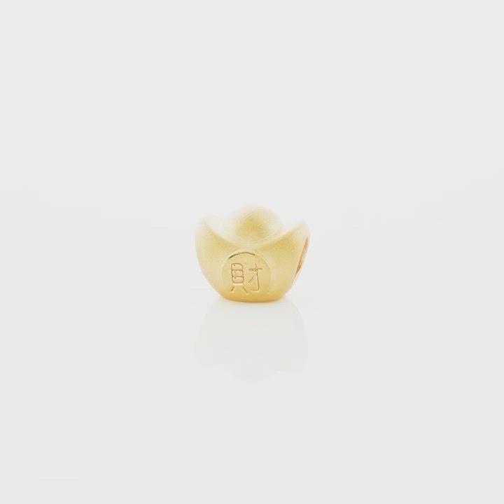 點睛品 999純金 Charme 文化祝福 金元寶 黃金串珠 product video thumbnail
