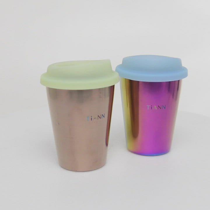 TiANN 鈦安純鈦餐具 純鈦啤酒杯(可可)含杯蓋450ml product video thumbnail