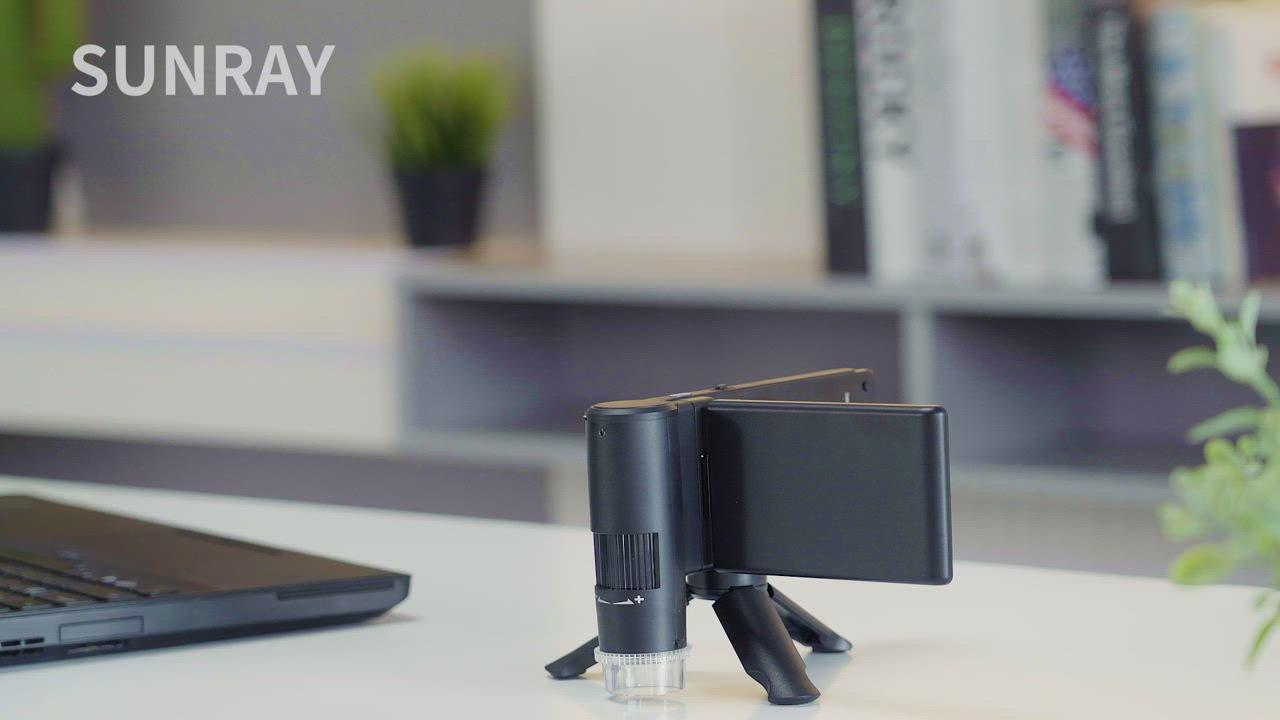 SUNRAYINNO 4吋可攜式手持電子顯微鏡(HDMI、AV輸出/精密測距/1500倍率放大/偏光鏡/32G記憶卡/BL-5C鋰電池) product video thumbnail