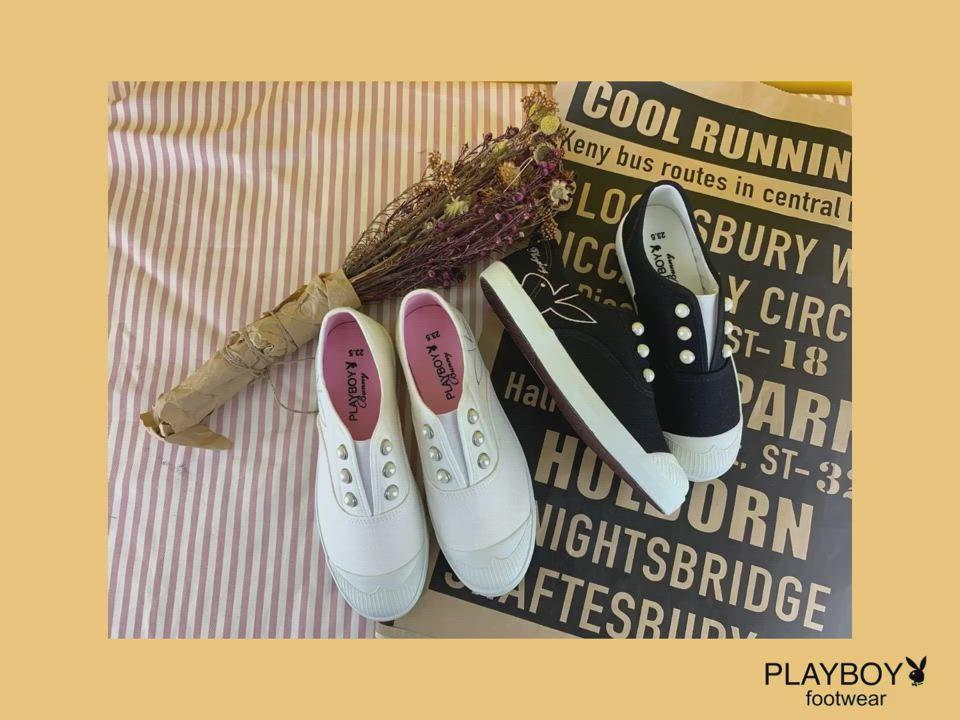 PLAYBOY 大珍珠裝飾帆布懶人鞋-白-Y570311 product video thumbnail