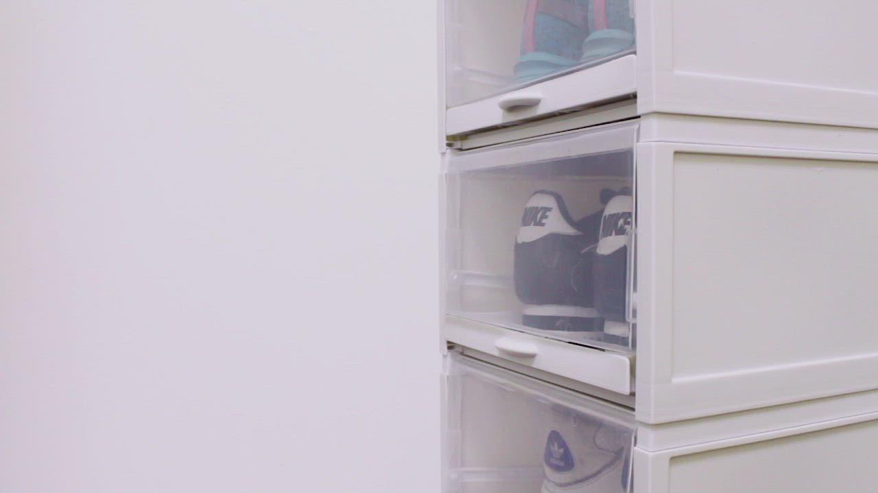 【Effect】男女鞋兼用加厚抗壓環保抽拉鞋櫃(加大款1組共3入/四色任選) product video thumbnail