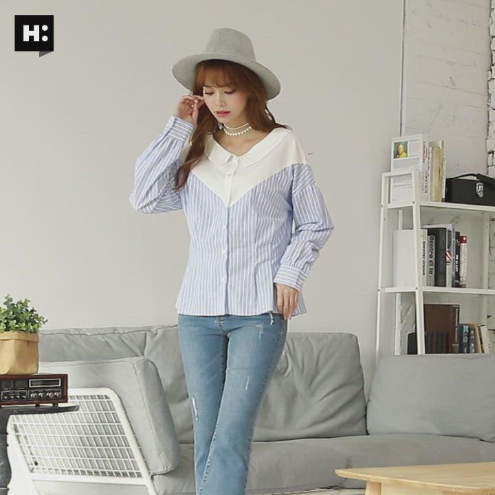 H:CONNECT 韓國品牌 女裝-條紋拼接排扣襯衫-藍 product video thumbnail