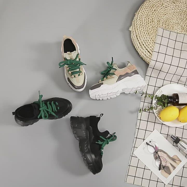 T2R-正韓空運-透氣牛皮網布隱形內增高厚底老爹鞋-增高9公分-黑 product video thumbnail