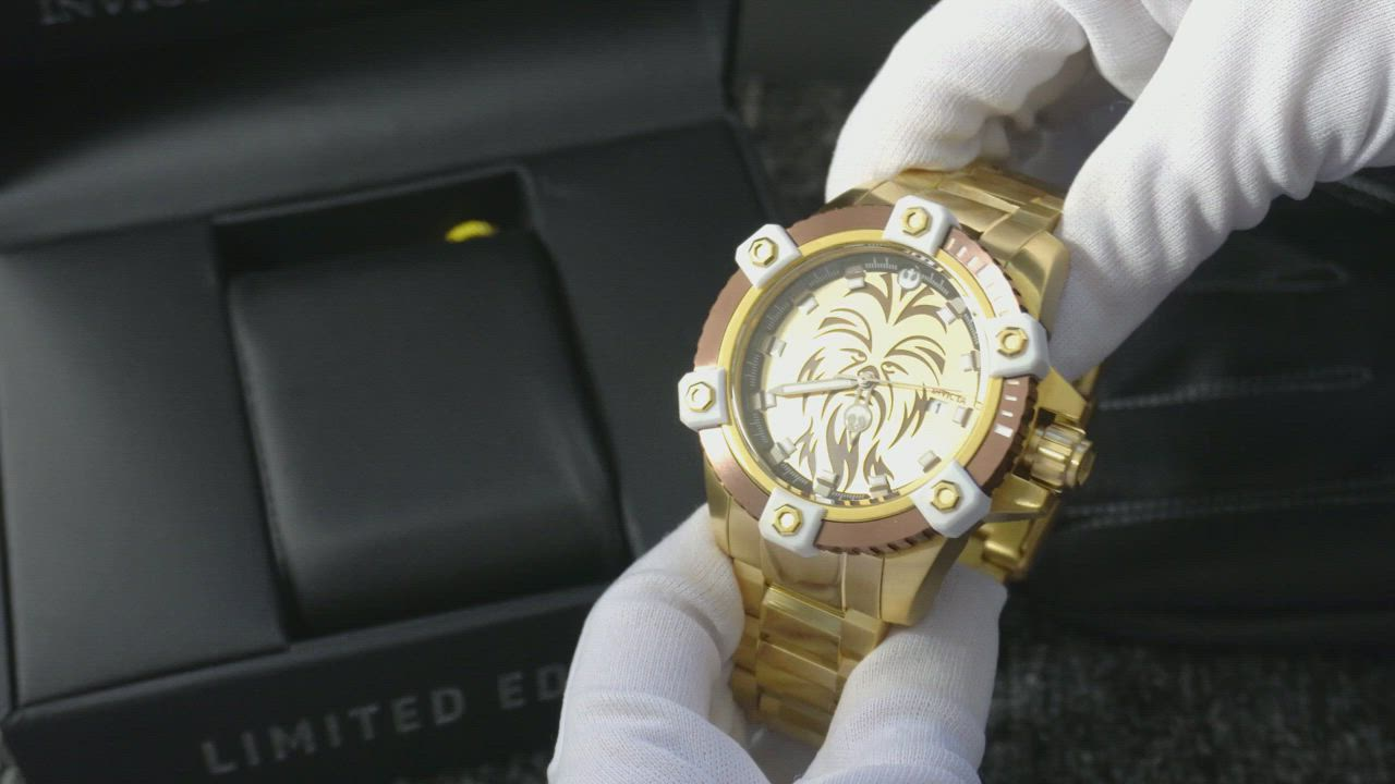 INVICTA 英威塔 Star Wars 星際大戰限定版 (秋巴卡)-電鍍金-機械錶 product video thumbnail