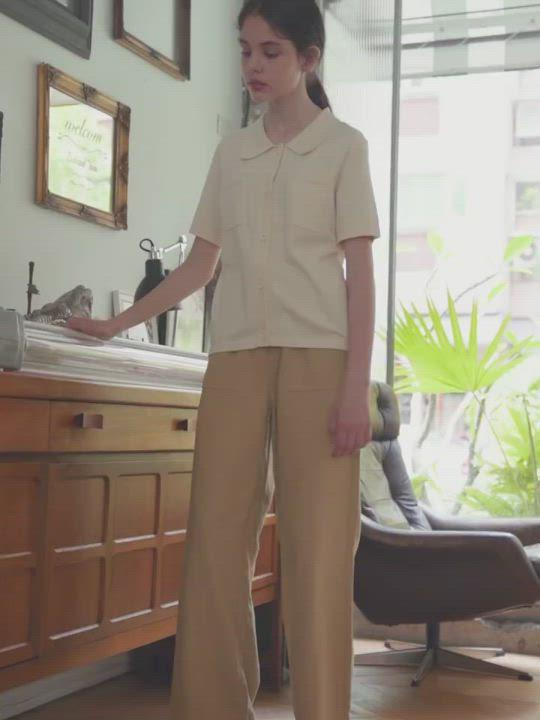 SEMIR森馬-經典復古造型顯瘦寬管寬褲-女 product video thumbnail