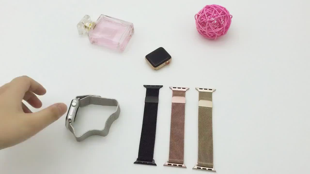 Apple Watch 1/2/3/4/5/6/SE 米蘭尼斯金屬錶帶 磁吸替換帶 product video thumbnail