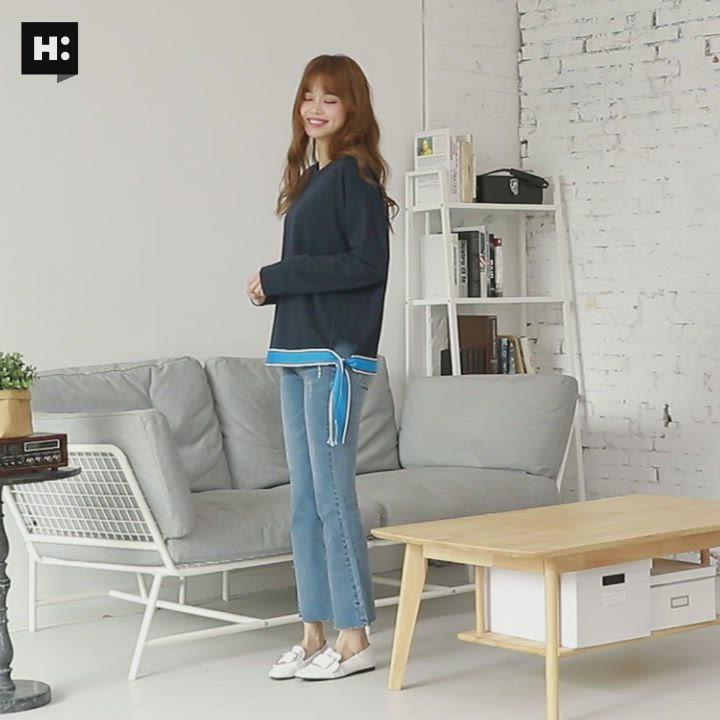 H:CONNECT 韓國品牌 女裝-織帶配色側綁帶上衣-藍 - 動態show product video thumbnail