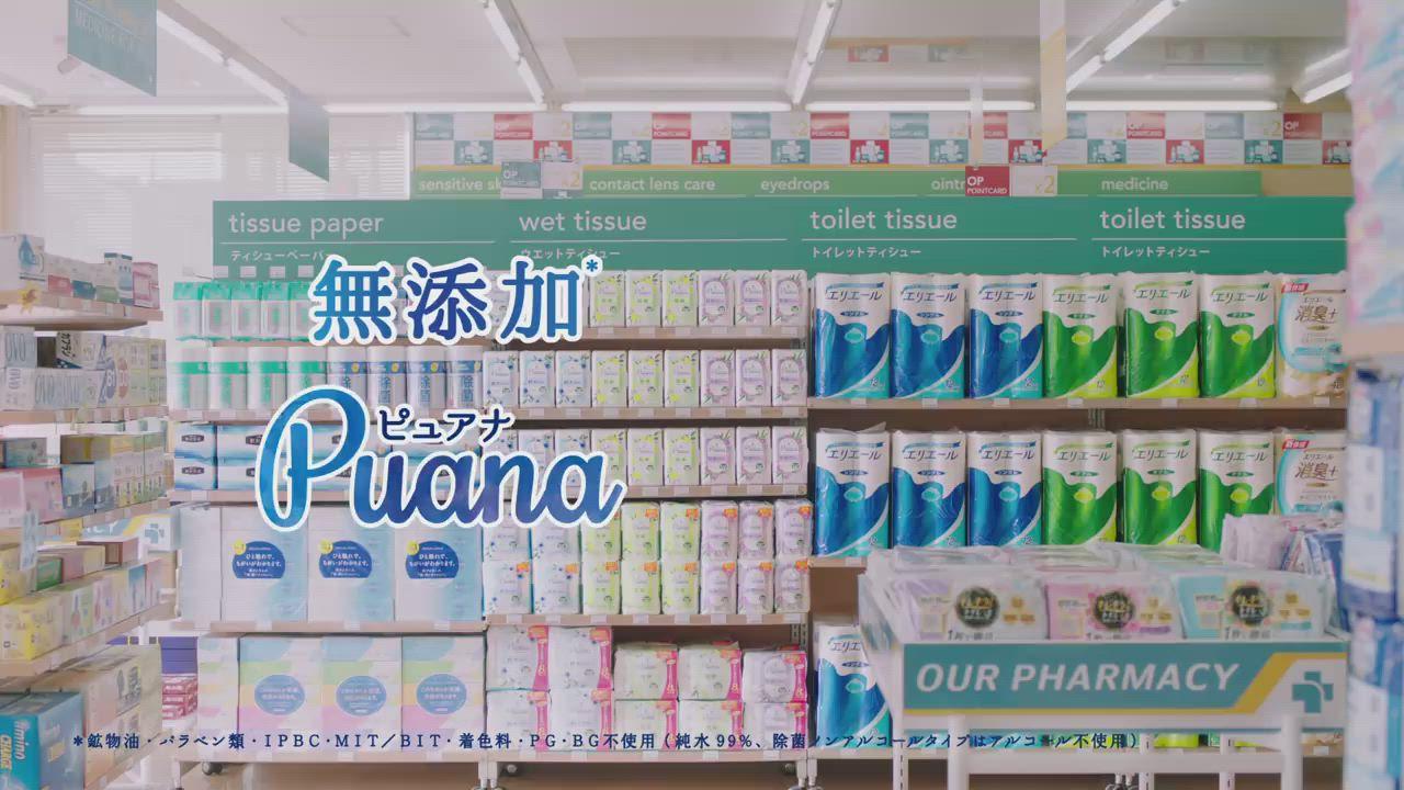 日本大王Puana純淨然 無酒精濕紙巾補充包 47抽x3包/袋 (4袋組) product video thumbnail