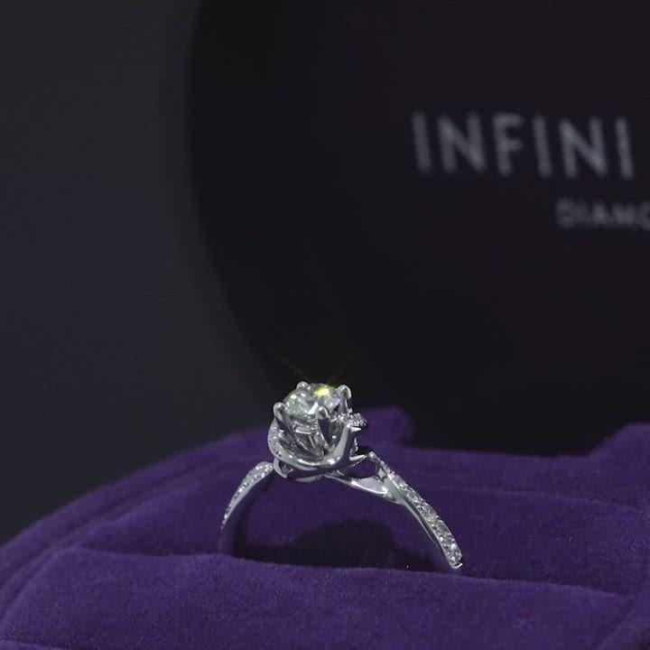 點睛品Infini Love Diamond 婚嫁系列 0.30克拉鉑金鑽石戒指 product video thumbnail