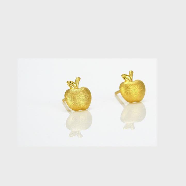 點睛品 小蘋果愛情密語系列日常穿搭黃金耳釘_計價黃金 product video thumbnail