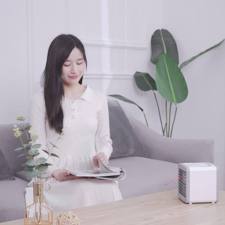 泰GER生活選物 USB加濕噴霧水冷扇 風速可調/七色夜燈 product video thumbnail