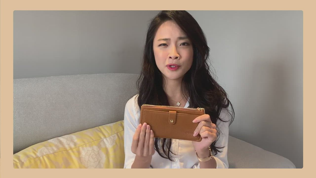 CHENSON真皮13卡超薄2.0典雅長夾皮夾手機包 豆沙紫(W28110-U) product video thumbnail