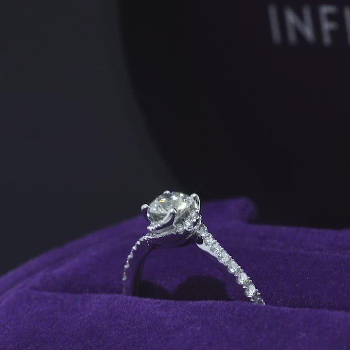 點睛品Infini Love Diamond 婚嫁系列0.5克拉鉑金鑽石戒指 product video thumbnail