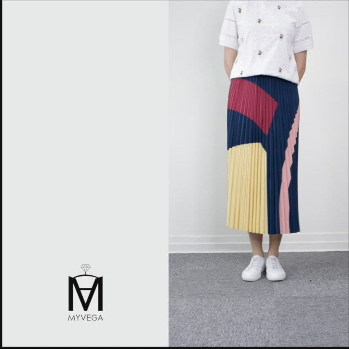 MYVEGA麥雪爾 MA大色塊彈性腰頭百褶長裙-深藍 product video thumbnail