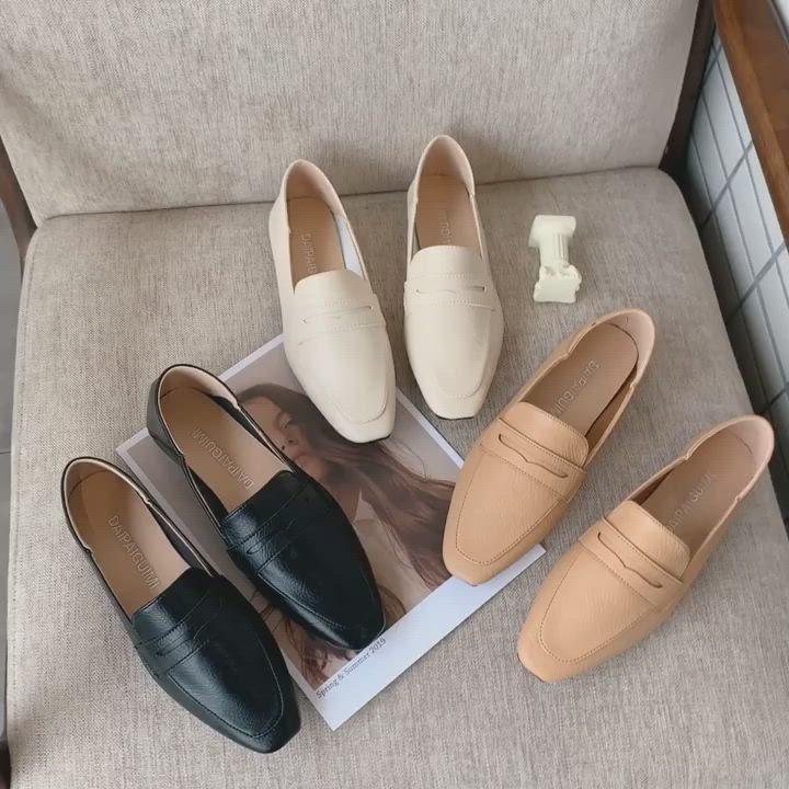 韓國KW美鞋館-(現貨)好評加碼帥氣素色樂福鞋(共3色) product video thumbnail