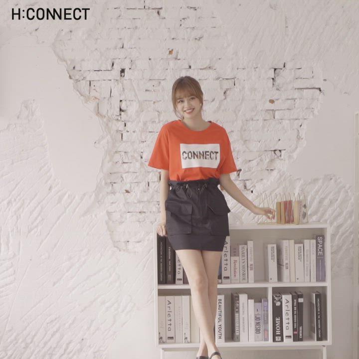 H:CONNECT 韓國品牌 女裝-雙口袋鬆緊花苞短裙-黑 product video thumbnail