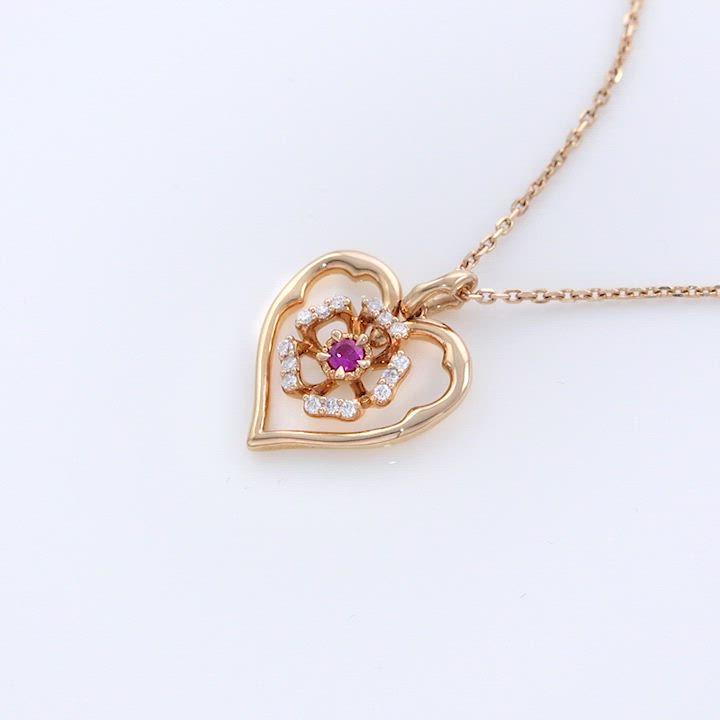 點睛品V&A-18KR玫瑰金 粉紅寶石玫瑰鑽石項鍊 product video thumbnail
