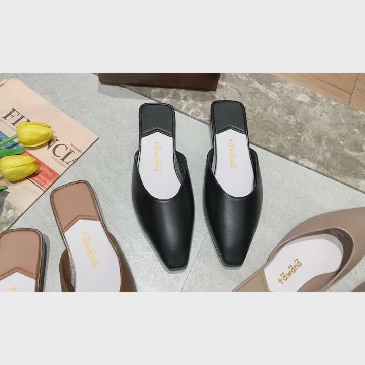 KEITH-WILL時尚鞋館 簡約慵懶風小方頭晴雨可穿穆勒鞋-奶茶色 product video thumbnail