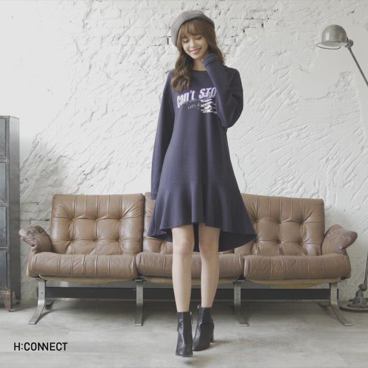 H:CONNECT 韓國品牌 女裝-連身魚尾印字洋裝-藍 product video thumbnail
