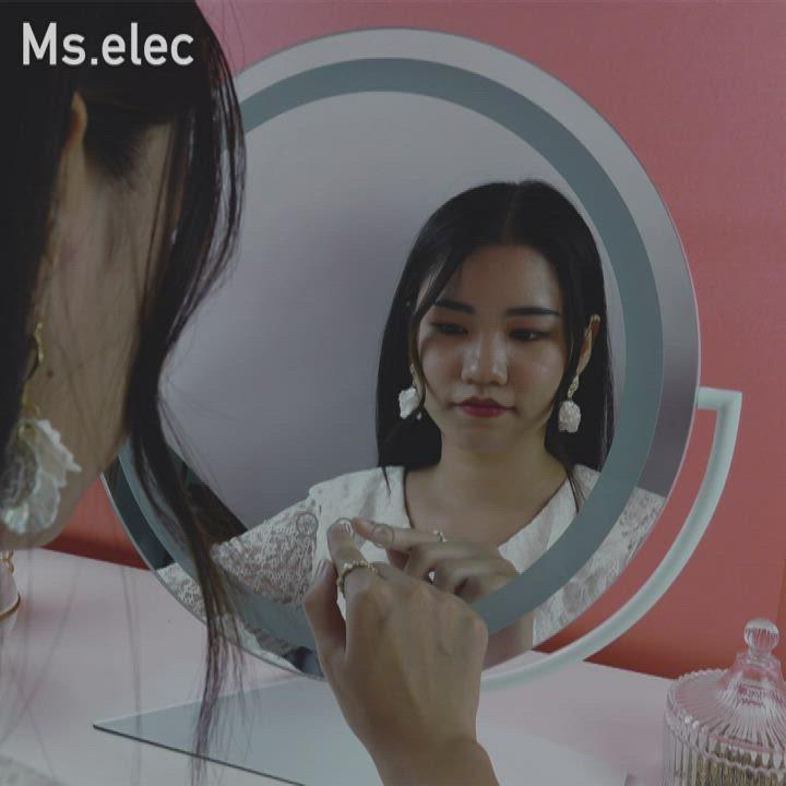 Ms.elec米嬉樂 慕月LED環燈化妝鏡 三色補光 燈泡鏡 桌鏡 好萊塢鏡 product video thumbnail