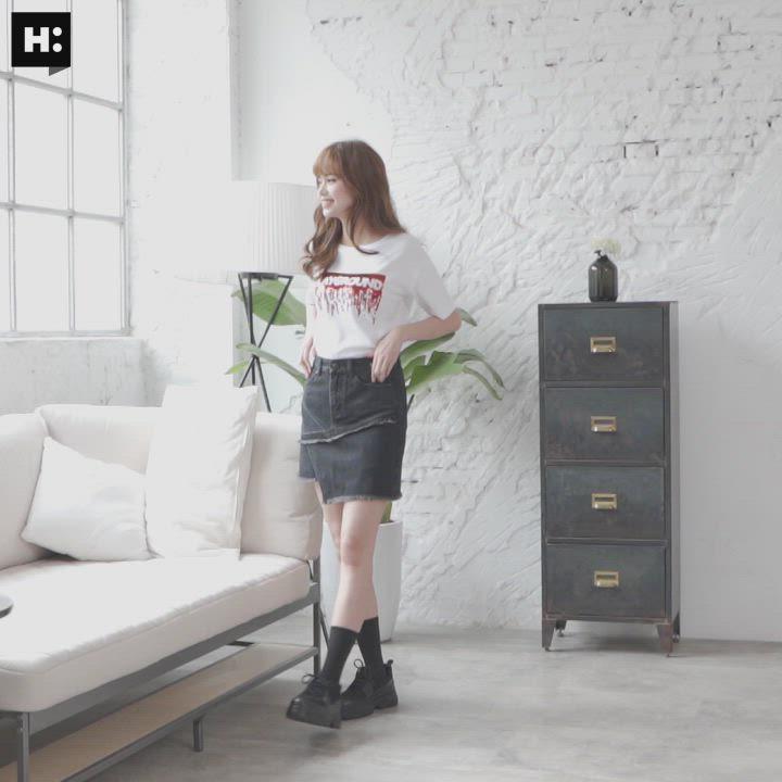 H:CONNECT 韓國品牌 女裝-交錯拼接設計感短裙-黑 product video thumbnail