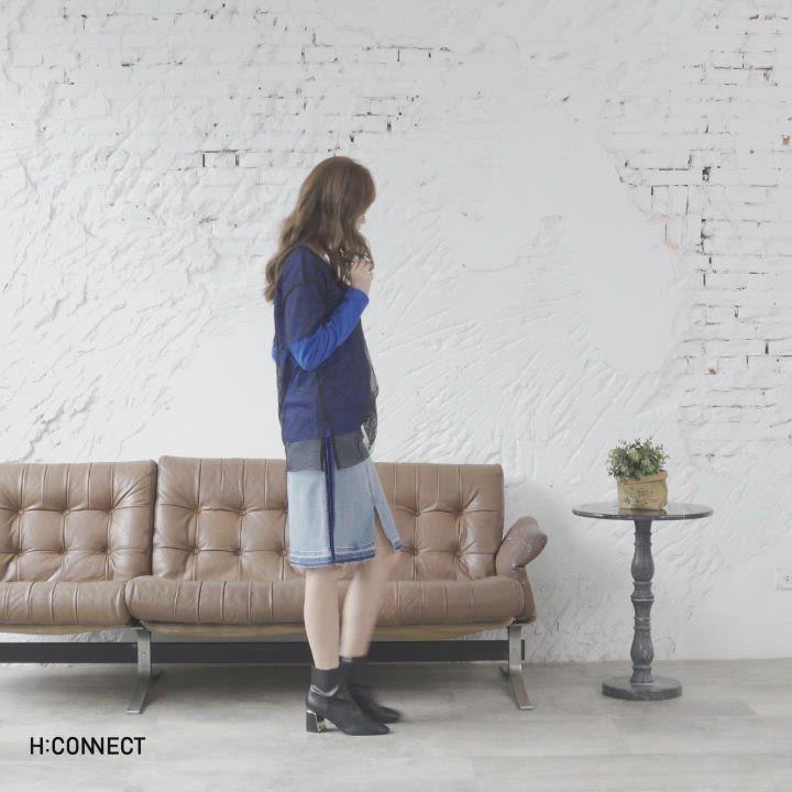H:CONNECT 韓國品牌 女裝-網紗拼接造型上衣-黑 product video thumbnail