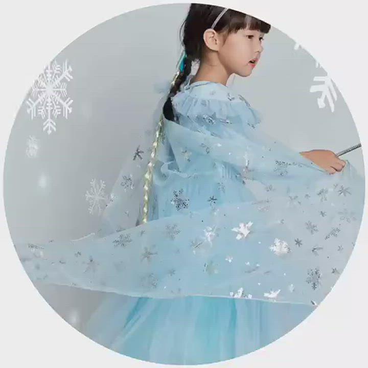 Kori Deer 可莉鹿 冰雪公主長袖蓬裙亮片公主服 女童萬聖節派對變裝禮服造型 product video thumbnail