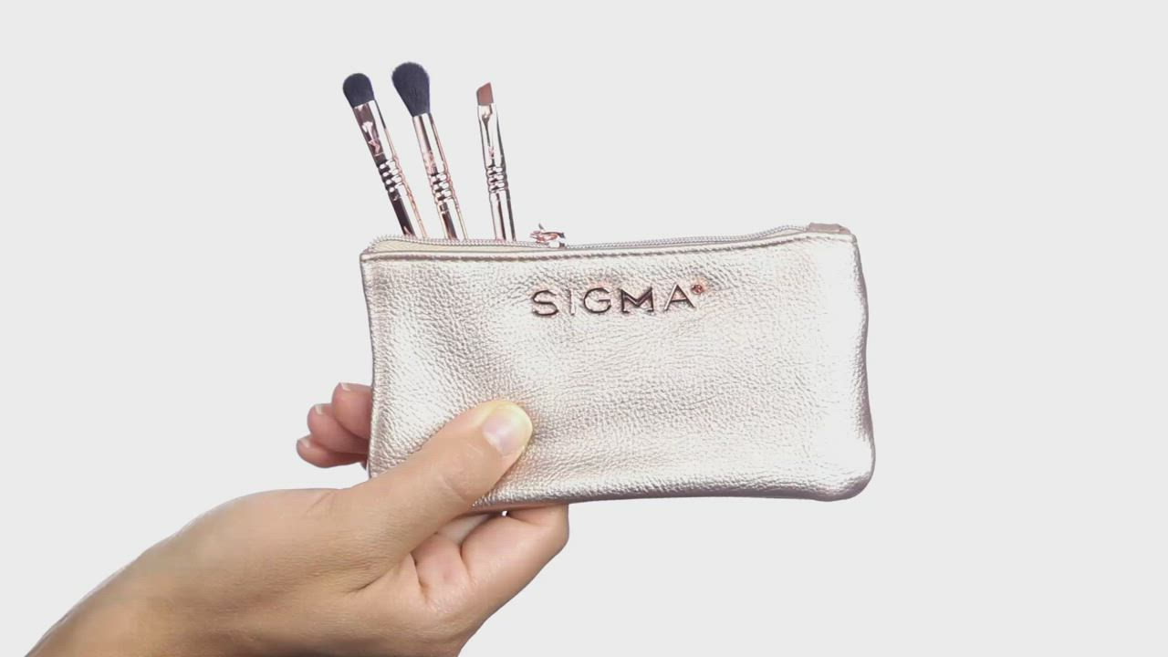 Sigma 迷你玫瑰金眼部刷具三件組+化妝包 Petite Perfection Brsuh Set product video thumbnail