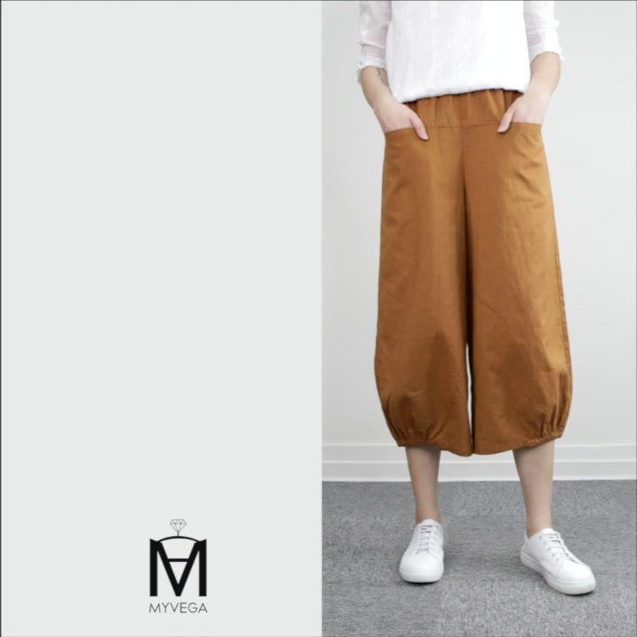 MYVEGA麥雪爾 MA棉麻隱藏口袋單縮口寬褲-褐 product video thumbnail