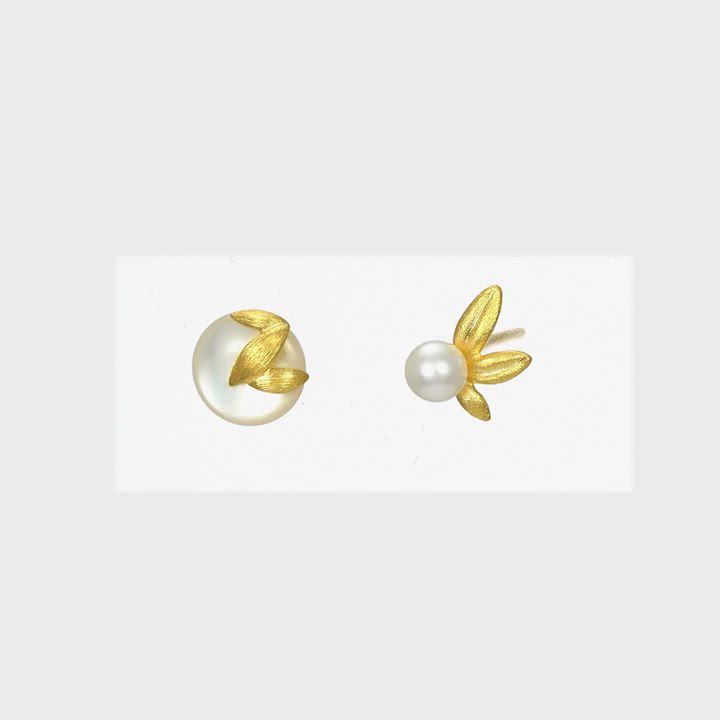 點睛品 吉祥系列 楊枝甘露 珍珠黃金耳環 product video thumbnail