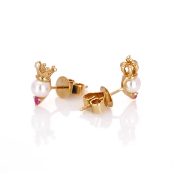點睛品 La Pelle-Petite系列 18K玫瑰金粉紅色藍寶石珍珠國王皇后耳環 product video thumbnail