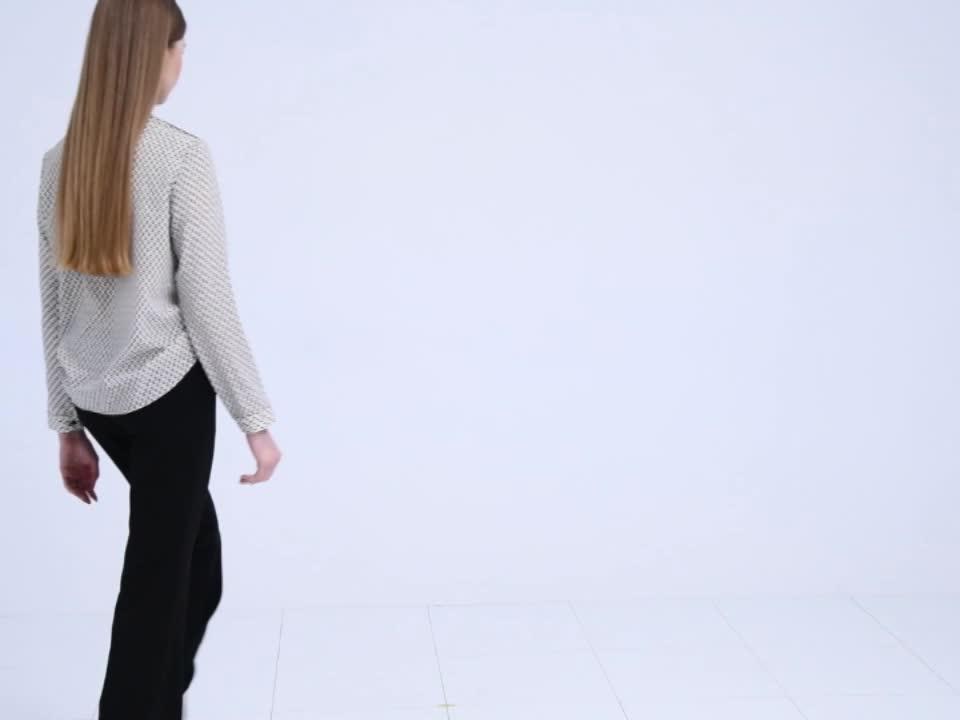 OUWEY歐薇 都會剪裁微喇叭長褲(黑)-動態show product video thumbnail